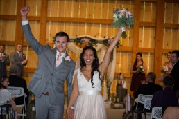 Just married couple recessional at Jay Peak barn in Vermont