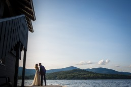 A summer elopement ceremony on Lake Placid by Vermont wedding photographer