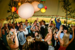 Wedding reception dance party with fisheye lens at Millstonehill in Vermont