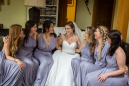 Wedding bridesmaids getting ready at the Mountaintop inn in Chittenden