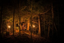 a personal branding portrait of a musician playing in the woods at night