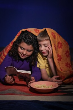 business branding candid of kids reading choose your own adventure book