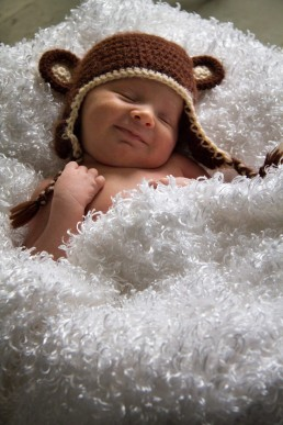 A lifestyle newborn portrait of baby in basket with monkey hat