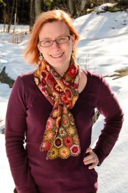 a personal branding portrait headshot of a woman in winter