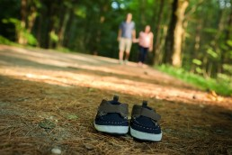 lifestyle maternity family portrait with shoes in foreground, Vermont