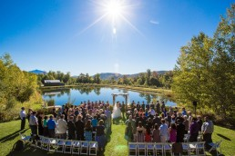 outdoor wedding ceremony setup at the Ponds in Bolton Vermont