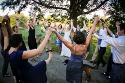 Vermont wedding celebration with circle of friends in Woodstock, Vermont