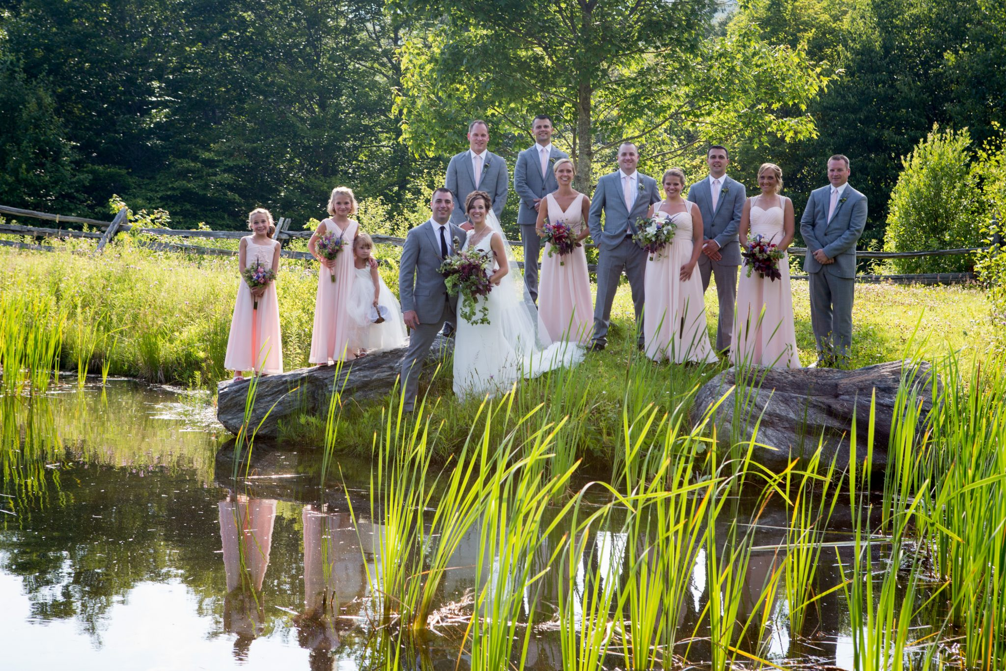 wedding party portrait of group at The Ponds in Bolton, Vermont