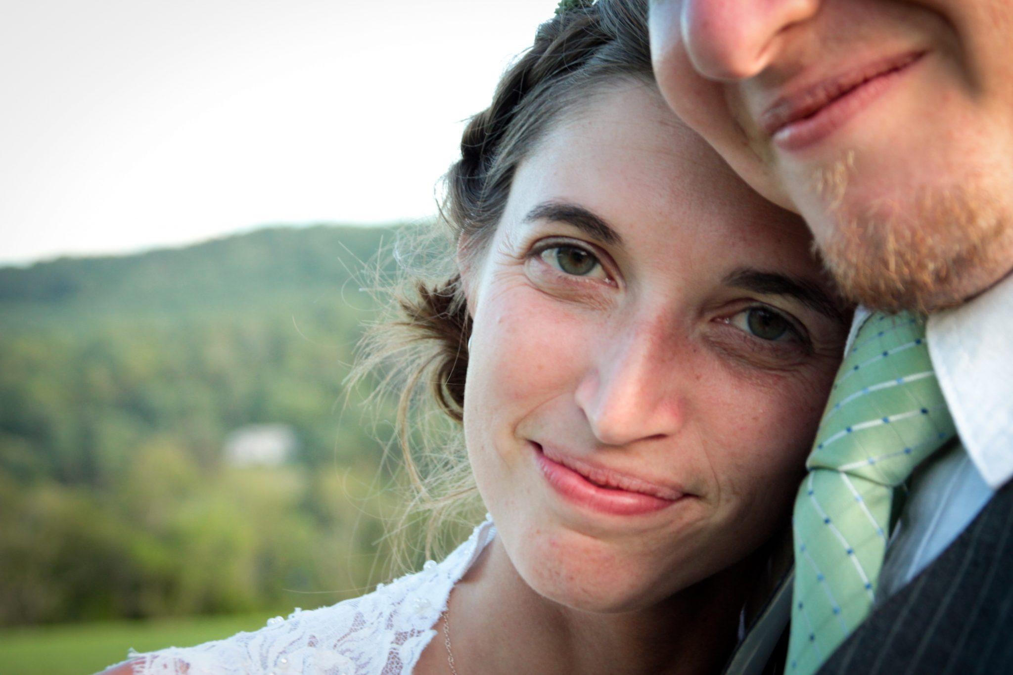 Wedding portrait closeup of bride candid in Woodstock, Vermont