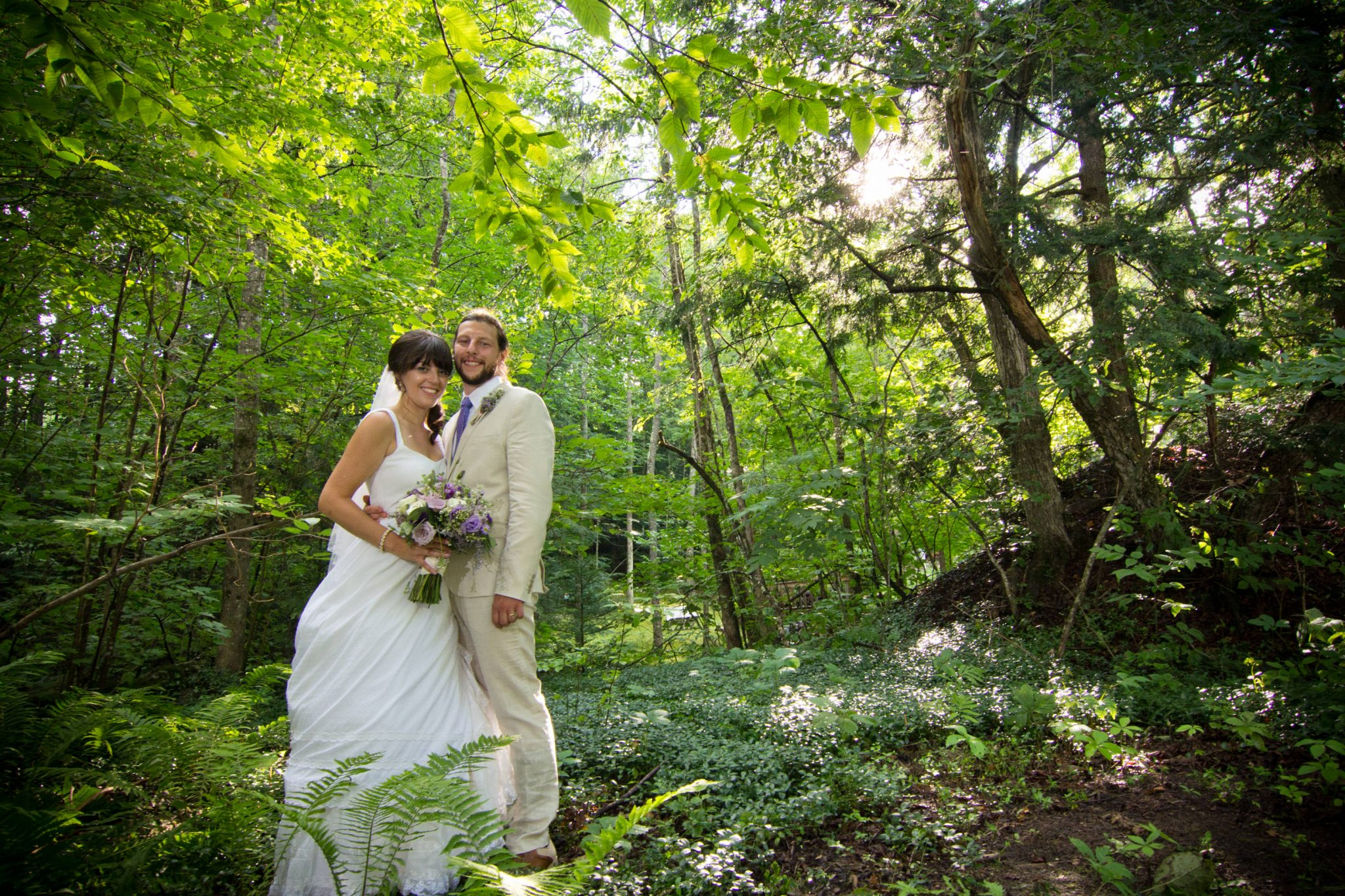 Portrait of couple in woods wedding at Echo Lake Inn in Vermont