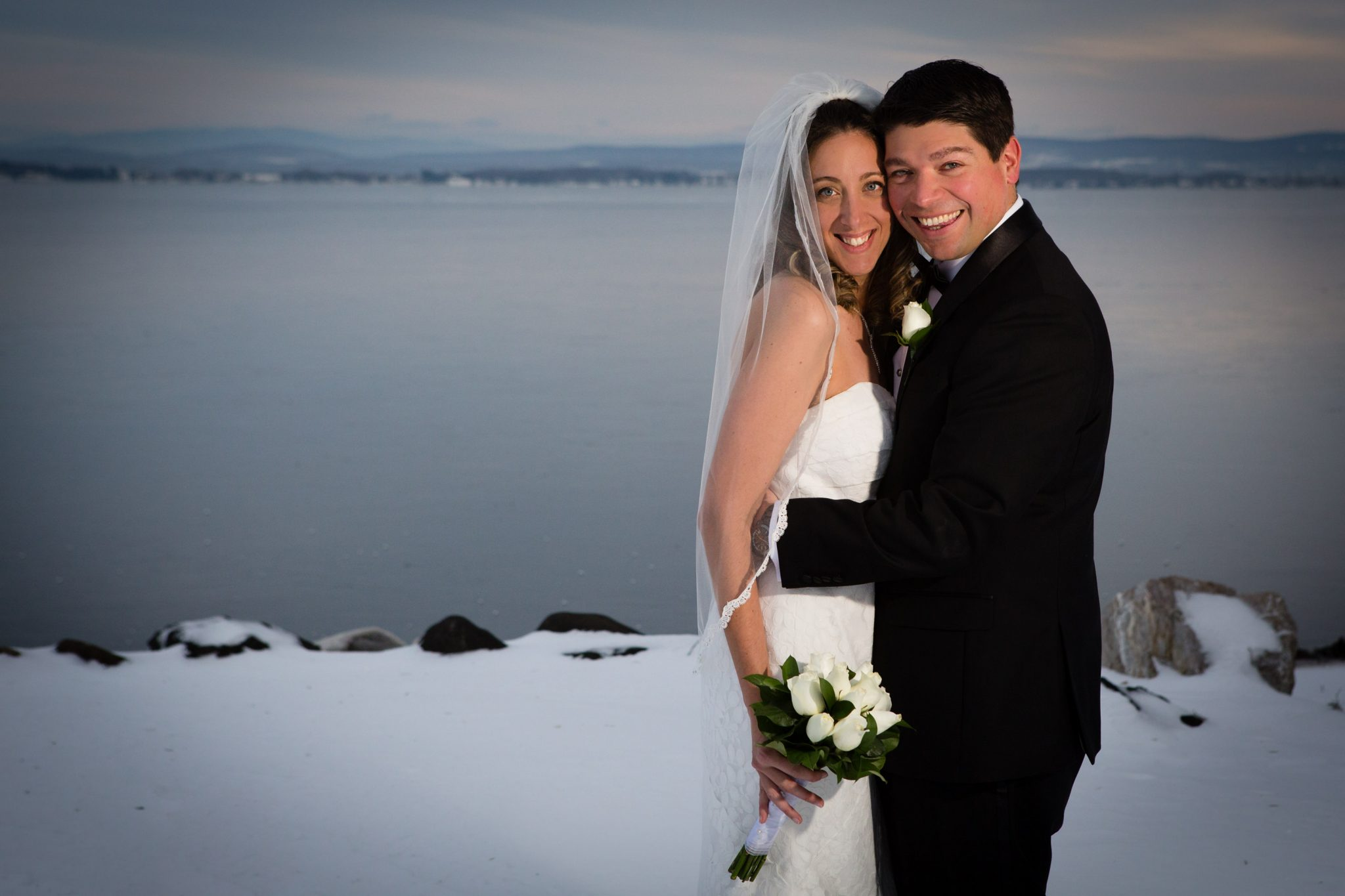 winter wedding outdoor portrait on lake champlain in vermont