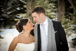 winter wedding portrait with sunshine and snow in Mountaintop Vermont