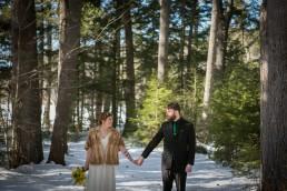 woodsy winter wedding portrait in Maine by Vermont wedding photographers